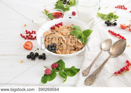 Breakfast Cereal, Table Setting. Healthy Tasty Breakfast Multigrain Wholewheat Healthy Cereals With