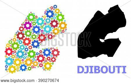 Vector Mosaic Map Of Djibouti Organized For Mechanics. Mosaic Map Of Djibouti Is Composed Of Random