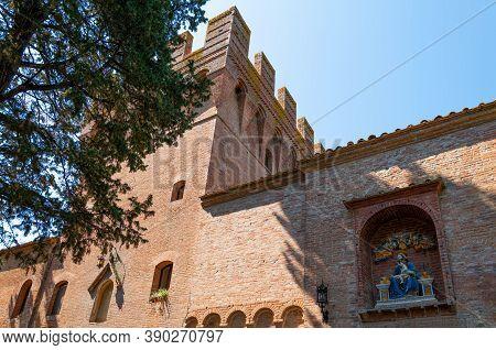 Italy, Asciano,  Abbey Of Santa Maria Of Monte Oliveto Maggiore, The Walls And The Crenellated Tower