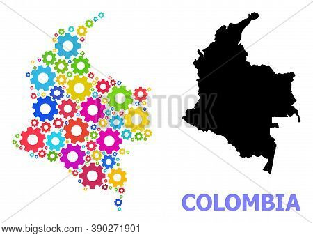 Vector Mosaic Map Of Colombia Organized For Mechanics. Mosaic Map Of Colombia Is Constructed With Ra
