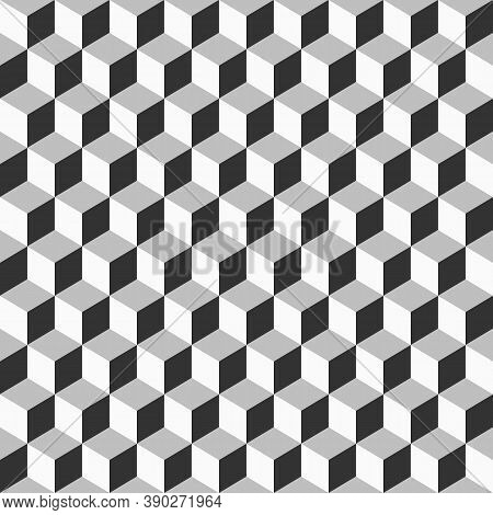 Seamless Pattern With Grayscale Cube. Geometric Cubes Background 3d Design. Geometric Cubes Backgrou
