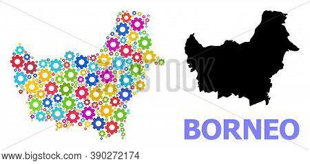 Vector Mosaic Map Of Borneo Island Designed For Workshops. Mosaic Map Of Borneo Island Is Designed W