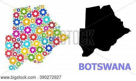 Vector Mosaic Map Of Botswana Organized For Workshops. Mosaic Map Of Botswana Is Designed From Rando