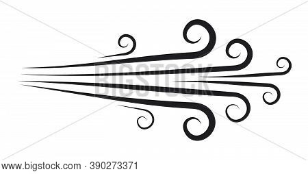 Blowing Wind Doodle Icon. Hand-drawn Clipart Of Air Symbol Isolated On White. Ornamental Line Motion
