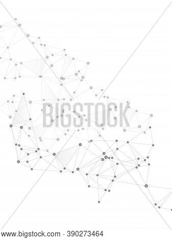 Block Chain Global Network Technology Concept. Network Nodes Greyscale Plexus Background. Net Grid O