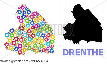 Vector Mosaic Map Of Drenthe Province Combined For Services. Mosaic Map Of Drenthe Province Is Compo
