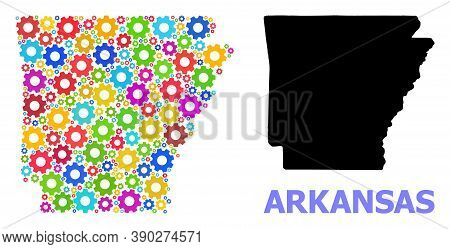 Vector Mosaic Map Of Arkansas State Created For Services. Mosaic Map Of Arkansas State Is Created Of
