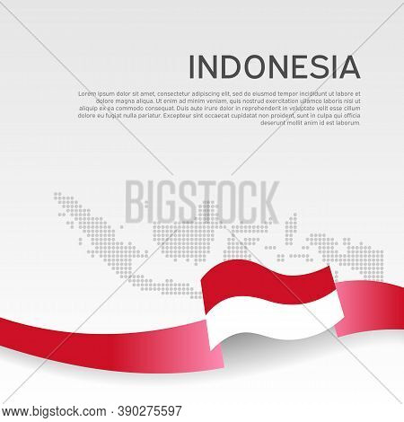 Indonesia Wavy Flag And Mosaic Map On White Background. Wavy Ribbon Indonesia Flag Colors. National