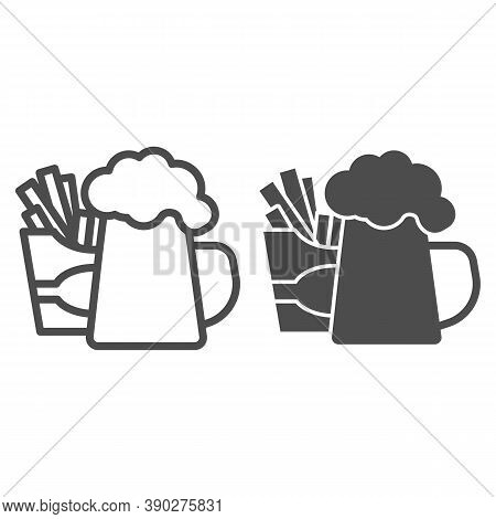 Fried Potatoes And Mug Of Beer Line And Solid Icon, Craft Beer Concept, Fast Food Sign On White Back