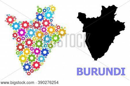 Vector Mosaic Map Of Burundi Designed For Engineering. Mosaic Map Of Burundi Is Designed From Random