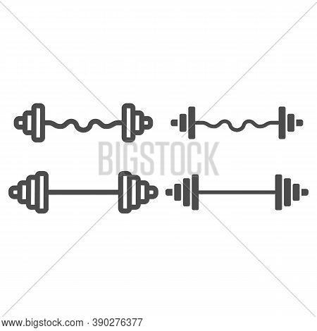 Dumbbell And Barbell Line And Solid Icon, Gym Concept, Gym Equipment Sign On White Background, Set O