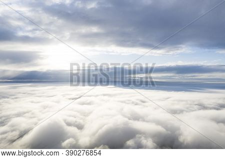 Aerial View White Clouds In Blue Sky. View From Drone. Aerial View Cloudscape Texture Background. Te