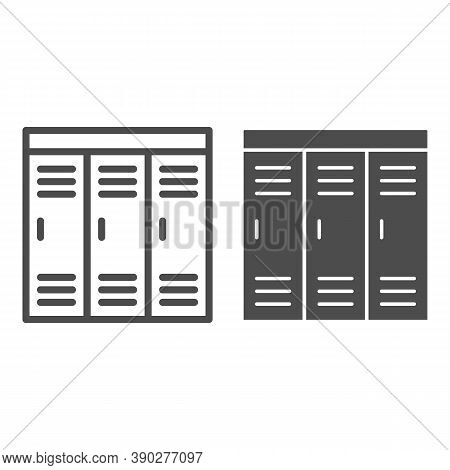 Gym Wardrobes Line And Solid Icon, Gym Concept, Lockers Sign On White Background, Sport Dressing Roo