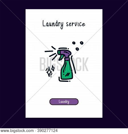 A Drawn Illustration Of A Laundry Room Icon In Color For The Web. Hand-drawn Doodle For The Laundry