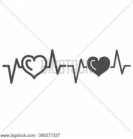 Electrocardiogram Line And Solid Icon, Medical Tests Concept, Heart Beat Sign On White Background, H