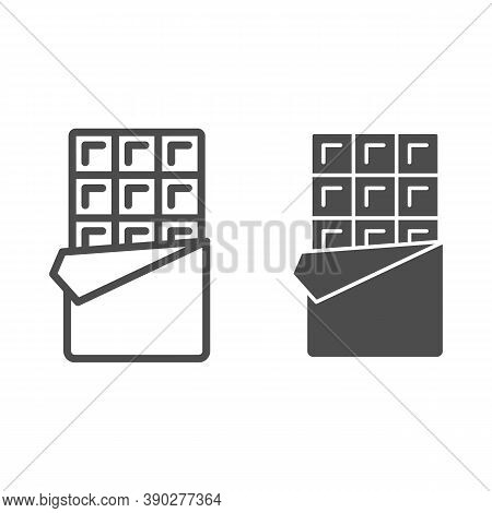 Chocolate Bar Line And Solid Icon, Chocolate Festival Concept, Candy Bar Sign On White Background, O