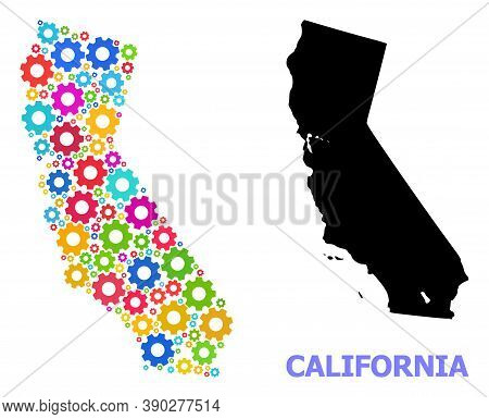 Vector Mosaic Map Of California Created For Workshops. Mosaic Map Of California Is Made Of Randomize