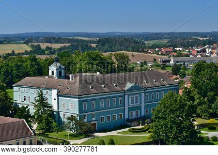 New Dacice Castle Stands At The Crossroads Havlickovo Squares And Streets In Hradec Dacice. Today, I