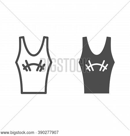 Athlete Jersey Line And Solid Icon, Gym Concept, Sportswear For Gym Sign On White Background, Tank T