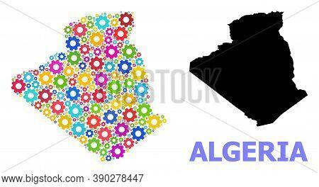 Vector Mosaic Map Of Algeria Created For Mechanics. Mosaic Map Of Algeria Is Made With Scattered Bri