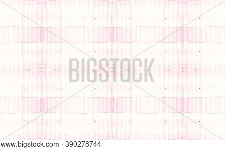 Girly Pajama Pattern. Woven Seamless Plaid Texture. Watercolor Stripes For Shirt Design. White Pink