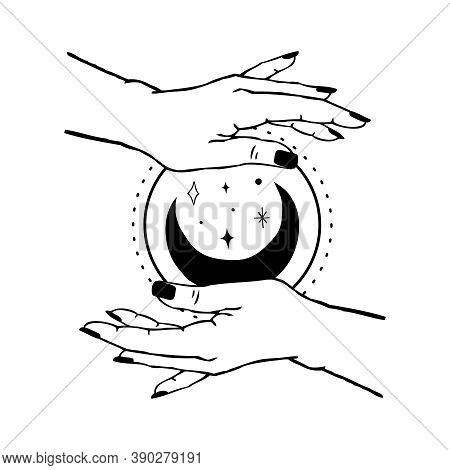 Vector Illustration Of Womens Hands Holding Moon And Stars. Trendy Linear And Minimal Boho Tattoo St