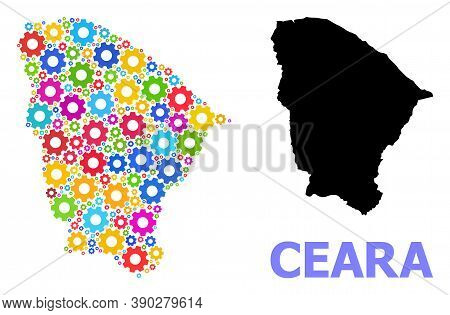 Vector Mosaic Map Of Ceara State Done For Engineering. Mosaic Map Of Ceara State Is Formed From Rand