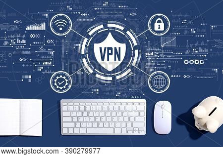 Vpn Concept With A Computer Keyboard And A Piggy Bank
