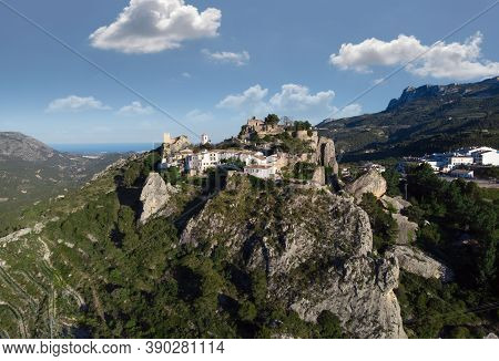 Aerial View Photography El Castell De Guadalest And Surroundings During Sunny Summer Day. Alicante P