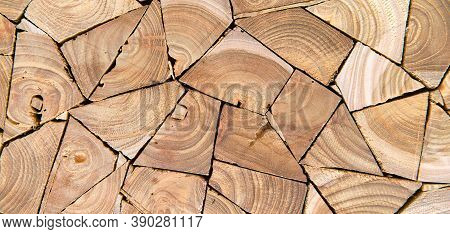 Close Up Of Wooden Firewood Wall Background, Panoramic View