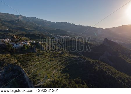 Mountainous Surroundings Of Guadalest Spanish Famous Village. Alicante Province. Spain