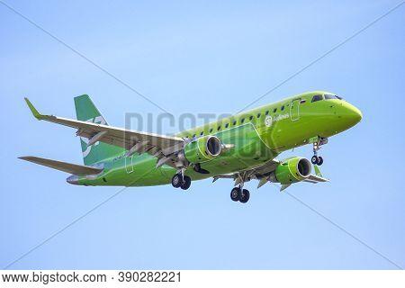 Novyy Urengoy, Russia - July 5, 2020: S7 Airlines Embraer Erj-170-100su 170su Arrives To The Novyy U