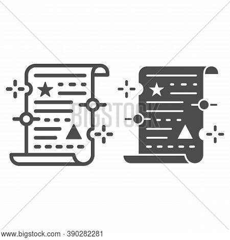 Spell On Papyrus Line And Solid Icon, Halloween Concept, Old Manuscript Parchment Paper With Text Si