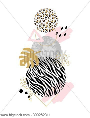 Vector Trendy Geometric Background With Marble Stones, Doodle Textures, Monstera Leaf, Animal Zebra