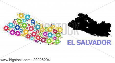Vector Mosaic Map Of El Salvador Constructed For Mechanics. Mosaic Map Of El Salvador Is Composed Wi