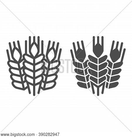Grain Ears Line And Solid Icon, Craft Beer Concept, Wheat Grains Sign On White Background, Bunches W