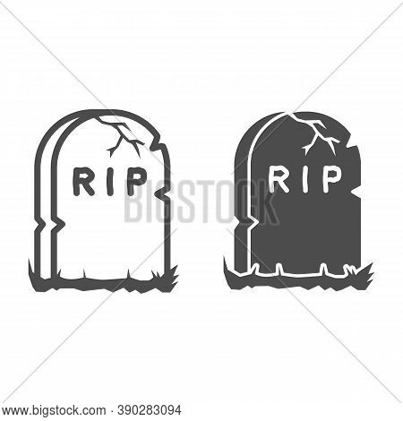 Headstone Line And Solid Icon, Halloween Concept, Grave Stone Sign On White Background, Gravestone W