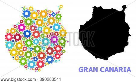 Vector Mosaic Map Of Gran Canaria Designed For Mechanics. Mosaic Map Of Gran Canaria Is Created With