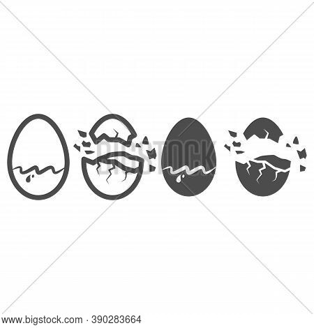 Chocolate Egg Line And Solid Icon, Chocolate Festival Concept, Sweet Tasty Eggshell Sign On White Ba