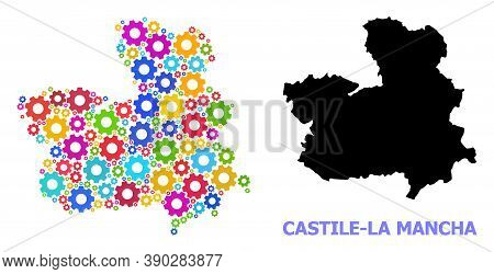 Vector Composition Map Of Castile-la Mancha Province Created For Engineering. Mosaic Map Of Castile-
