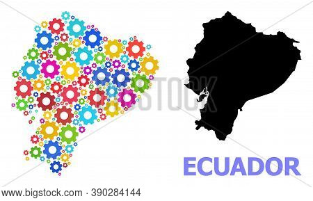 Vector Mosaic Map Of Ecuador Designed For Engineering. Mosaic Map Of Ecuador Is Made From Randomized