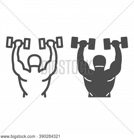 Lifting Dumbbells Line And Solid Icon, Gym Concept, Weightlifter Sign On White Background, Bodybuild