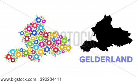 Vector Mosaic Map Of Gelderland Province Combined For Industrial Apps. Mosaic Map Of Gelderland Prov