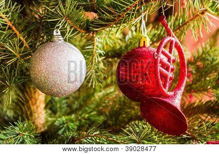 closeup of christmas balls in tree