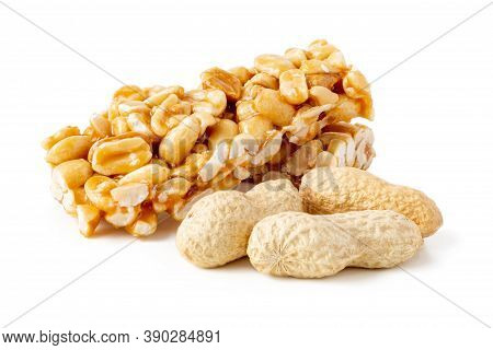 Peanut Brittle Bars (indian Peanut Chikki) With Groundnut Isolated On White Background.