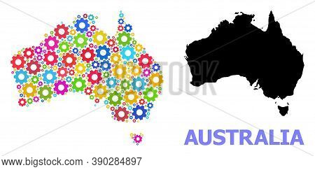 Vector Composition Map Of Australia Organized For Engineering. Mosaic Map Of Australia Is Composed F