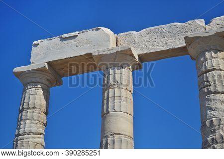 The Temple Of Poseidon At Cape Sounion Attica Greece