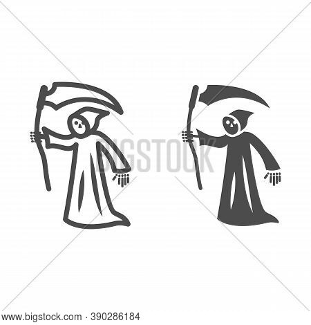 Grim Reaper Line And Solid Icon, Halloween Concept, Death With Scytheman Sign On White Background, G