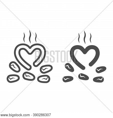 Roasted Cocoa Beans Line And Solid Icon, Chocolate Festival Concept, Cocoa Beans With Steam Sign On