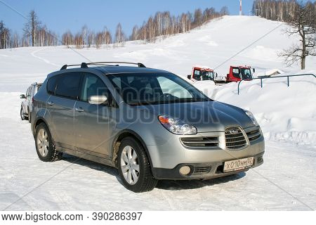 Asha, Russia - February 9, 2008: Japanese Mid-size Crossover Suv Subaru B9 Tribeca In The Snow Cover